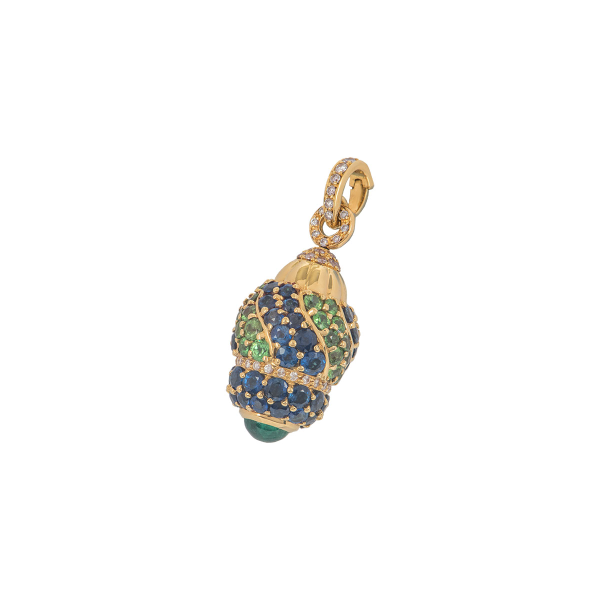 Yellow Gold Diamond, Sapphire and Peridot Egg Pendant